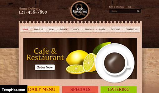 طرح لایه باز قالب سایت برای رستوران و کافیشاپ