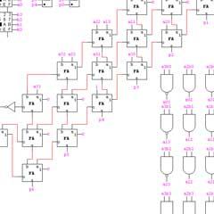 استفاده از روش Array Multiplier يك ضرب كننده سه بيت در سه بيت